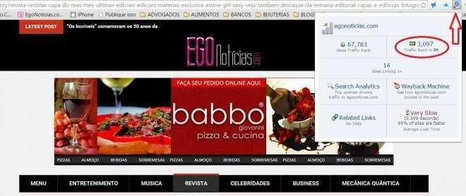 Ranking do Egonoticias entre os 3.000 sites mais acessados do Brasil 1