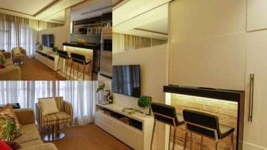 A divisória da 'Sala-Cozinha' projetada por Natalia Romanelli e desenvolvida por Mariana Vigné