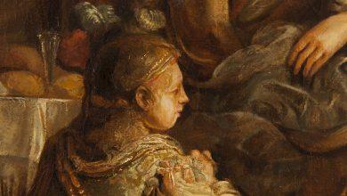 Curso: Detalhe da obra Isaac Abençoa Jacob, Discípulo de Rembrandt van Rijn, Holanda, séc XVII, foto Henrique Luz