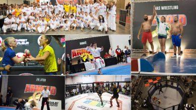 Luta de Kickboxing - Combate de jiu jitsu -Competição de karatê- Vista aérea do octógono do MMA -Fotos - (Rodrigo Dod / Savaget)
