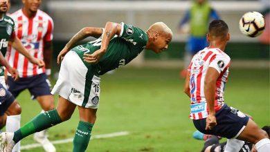Palmeiras goleia Junior Barranquilla pela Libertadores - Deyverson marca de cabeça e abre o placar para o Palmeiras no Allianz Parque - Foto - Nelson Almeida- AFP