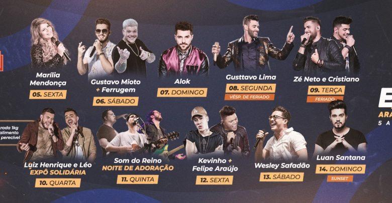 A Expô Araçatuba lançou a sua grade de shows 2019 1