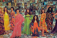 Campanha que celebrou os 50 anos da Rhodia no Brasil, de 1969, com vestidos estampados por artistas como Jacques Avadis, Moacyr Rocha, Fernando Martins e Manabu Mabe (Foto: Rhodia/ Divulgação)