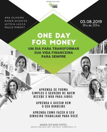 palestra, e da sua conta, one day for money, empreendedores, hotel maria do mar, florianopolis, imersao, financas, ingressos, curso