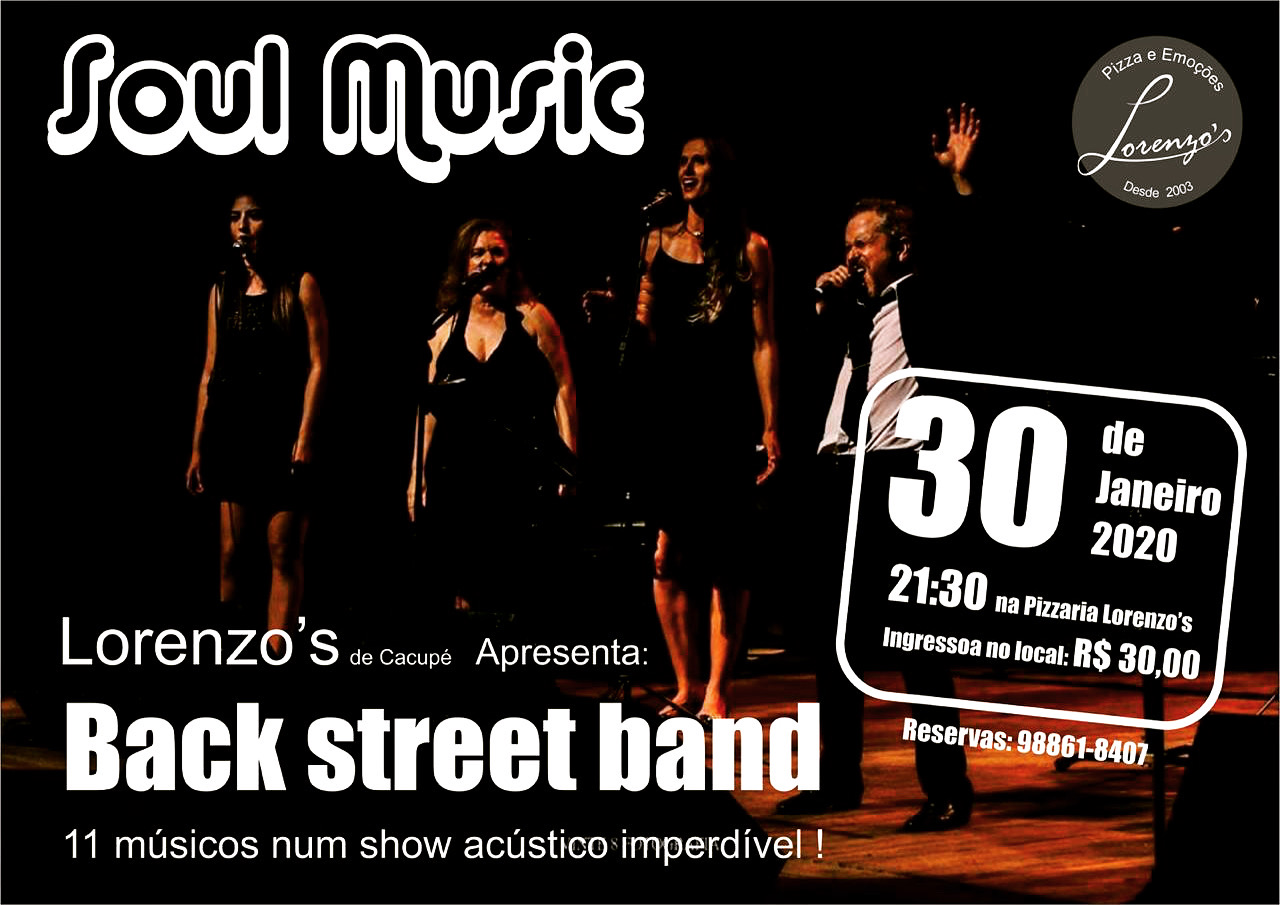 The Back Street Band, se apresenta no palco da Lorenzo's Pizzaria